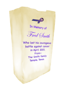 Luminaria bag with dedication to someone deceased
